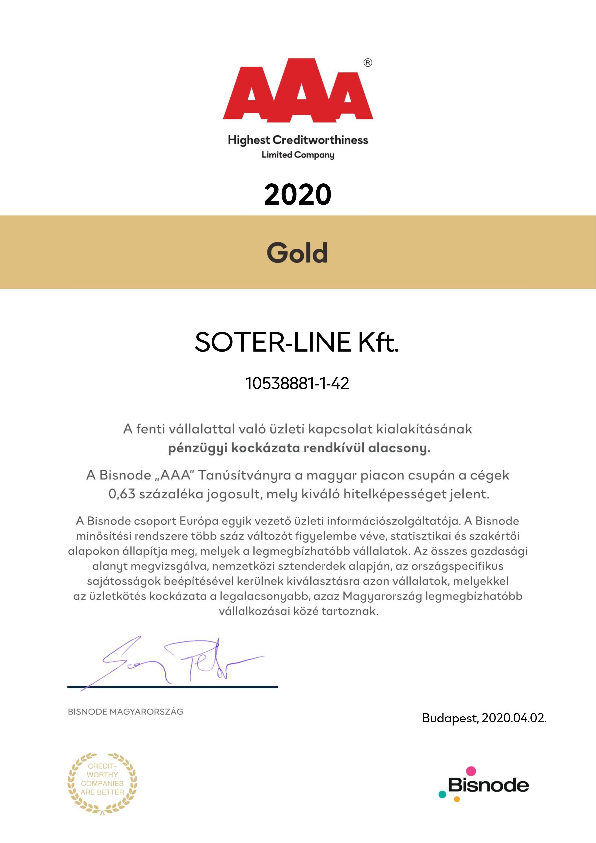 Bisnode 2020 gold tanúsítvány